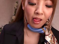 Hitomi Tanaka rubs a guy's weiner with her enormous boobs
