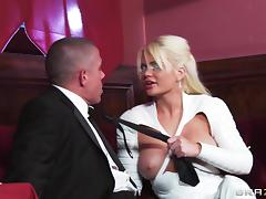 Sexy knee high white latex boots on fucked bimbo Alexis Ford