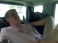 Couple shagging on the backseat