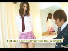 Risa Tsukino Asian doll in waitress uniform enjoys sucking huge cock