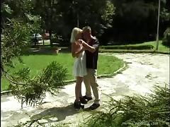 Enchanting Blonde In Miniskirt Riding Heavy Dicks Outdoor