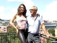 Brunette slut in lingerie fucks hardcore with an older dude