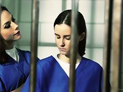 Bubbly lesbian jail birds getting erotic in prison