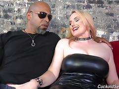 Humiliated cuckold wears chastity as his lady fucks BBC