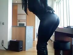 Smoking brunette - catsuit