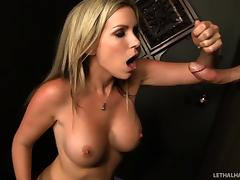 Courtney Cummz visits a gloryhole and milks a guy dry