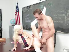 A petite blonde trades that tight pussy for a better grade in class