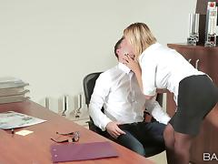Office affair with a busty temptress is a wild fuck fest