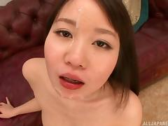 Cock hungry Japanese bitch enjoys sucking two dicks at once