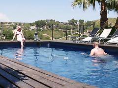 Blonde teen slut fucking a rich dude by his pool outdoors