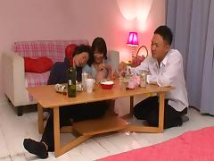 Hairy twat of Mayu Kamiya filled with a hard Japanese dick
