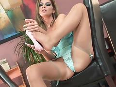Brunette star Bambi loving her pussy and feet in stockings