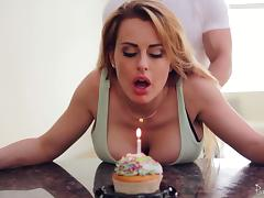Birthday girl with big titties gets bent over and fucked good