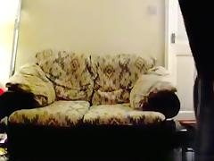 Blonde fat milf has sex on the sofa with her husband