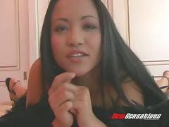 Curvy Asian gal with fantastic big tits loves to fuck toys