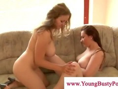 Busty lesbos loves playing with pussy