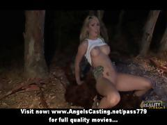 Amazing blonde fucked hard in different positions by bigfoot