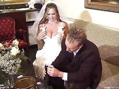 Bride and a bridesmaid have a wedding night threesome