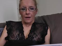 Sweet blonde in glasses dares to fuck herself with a dildo