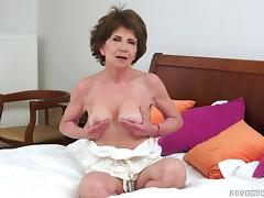 Hot granny sucks a black cock and it fucks her wet pussy