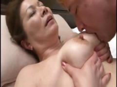 Japanese mature housewife does an old man and a young dude