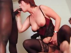 Matures in stockings get BBC in the ass