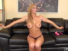 Tall blonde likes to ride her vibrator while on her cam
