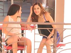 Public upskirt play makes both girls horny and happy