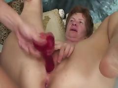 Hard nippled granny toys and fucks