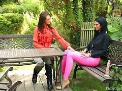 Virus Vellons with Alyssia Loop Pounding Her Fully Clothed Property In The Gardens.