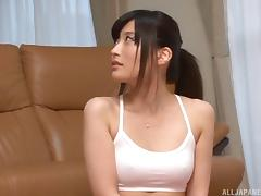 Kitano always spices up her workout sessions with the dick sucking