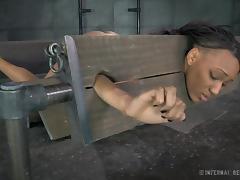 Skinny ebony slag lets her horny man tie her up completely