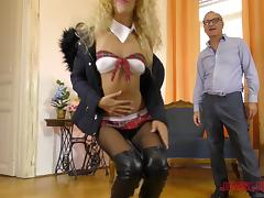Stunning blonde sex bomb is great at riding a massive tool