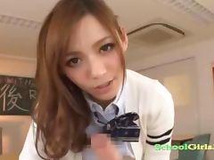 Schoolgirl Giving Handjob For Schoolguy Cum To Hand On The Desk In The Classroo