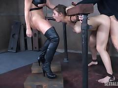 Nora Riley has a great time with her masters who like kinky games