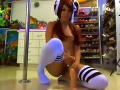 Skinny redhead babe teasing for fun on webcam