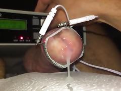 Cockhead estim electro with slow motion cumshot