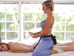 Lesbians Brett Rossi and Lena Anderson having a massage and sex