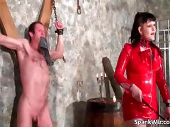 Extreme action with naked slave his ass