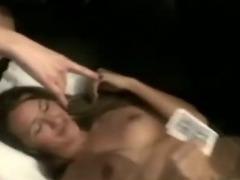 This slut sucks her boyfriend off in her dorm room