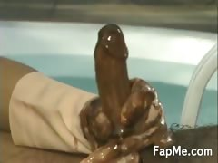 Horny girl jerking off a hard dick