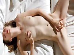 Super skinny girl undressing her snatch