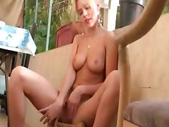 blond doing the laundry and the pussy