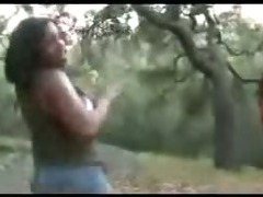 Big Breasts Ebony Outdoor Threesome