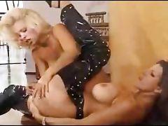 Horny lesbians fucking on the floor