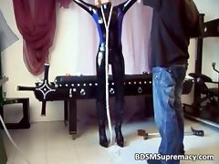 Kinky blond hoe gets tied with ropes