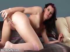 Sexy brunette babe finger fucks hard her part1
