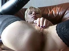 Hairy Russian Amateur is Left Alone in Apartments with a Fucking Machine