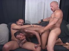 Two big black cocks sharing ebony pussy