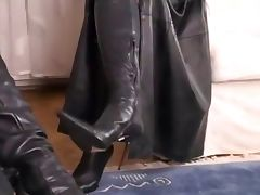 Beautiful Sexy Black Leather on an attractive brunette